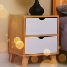 WOODEN BEDSIDE TABLE CABINET NIGHTSTANDS BEDROOM FURNITURE 2 DRAWERS SHABBY