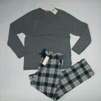 UGG Mens Gray Navy Plaid STEINER Cotton PAJAMAS 2 Pc SET Shirt PANTS SMALL NEW