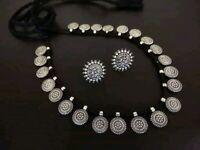 Oxidised Metal Handmade Indian Ethnic Black & Silver choker Necklace Jewelry set