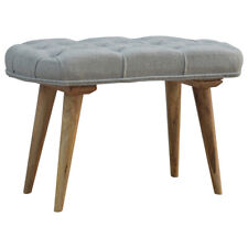 Handmade Wooden Hallway Bench Seat Upholstered Grey Wool Tweed Nordic Style