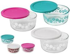 1 Pyrex FLOWERS 4 Cup Glass Storage *CHOOSE: Turquoise Pink OR White Daisy 1-Qt