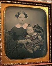Daguerreotype Portrait of a Smiling Mother with Child c.1850