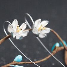 1 pair Women Girls Elegant 925 Silver Drop Hook Water Lily Long Earrings Jewelry