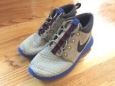 EUC Mens Nike Roshe One Sneakerboot sz 9 Suede Bamboo Blue 615601-200 run free