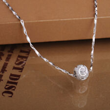 Fashion Jewelry 925 Silver Filled Necklace Round Crystal Ball Beads Pendant New