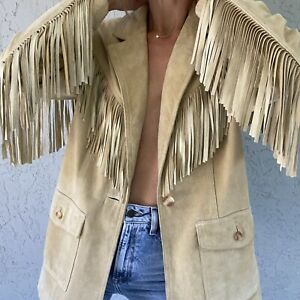 Vintage Tan Suede Size Medium Fringe Jacket