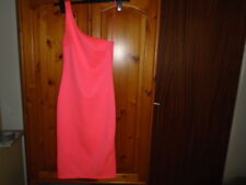 Fluorescent pink bodycon one shoulder calf length party dress, TOPSHOP, size 8