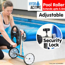 Solar Swimming Pool Cover Roller Thermal Blanket Bubble Adjustable Reel Wheels