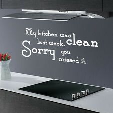 MY KITCHEN WAS CLEAN  ... FUNNY DINING ROOM QUOTE WALL ART DECAL STICKER VINYL
