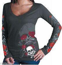 T-Shirt femme ML SKULL & ROSES - Taille S - Style BIKER HARLEY