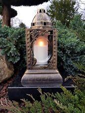 Grablaterne & Kerze Grablampe Grableuchte Granit Grablicht Grabstein Rosen