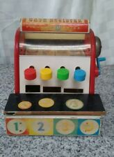 vintage wooden fisher price childs cash register old toy one token