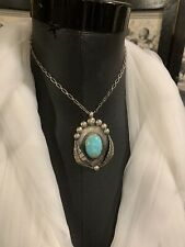 Sterling Turquoise Necklace Navajo Artist Signed
