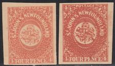 Newfoundland 1857 4d pair Oneglia Forgery, Counterfeit, Fake.