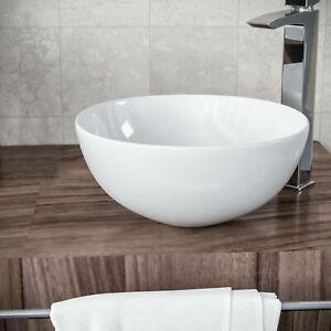 Small Bathroom Basin Sink Cloakroom Vanities Round Ceramic Bowl Wall Mount Hung