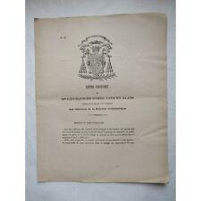 LETTRE CIRCULAIRE - Mgr ÉVÊQUE de NÎMES - CONVOCATION CLERGÉ - 1885