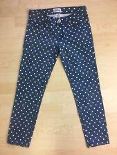 Aeropostale Women's Lola Cropped Jegging Blue Poke a Dot Pants Size 3/4 regular