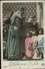 Christmas French Santa Claus Blue Suit Children Real Photo Postcard c1910