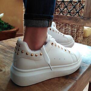 scarpe donna sportive sneakers charro con lacci platform zeppa para borchie