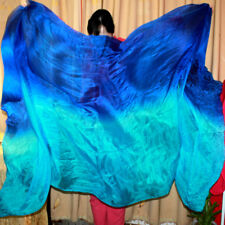 BELLY DANCE 100% SILK VEILS (5.0 M/M) 1.14M*2.7M blue to turquoise