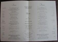 MENU PAQUEBOT FRANCE. Première classe, dimSamedi 31 Mars 1962.