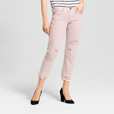 NEW! Mossimo Low-Rise Distressed Cropped Boyfriend Jeans, Pink - Sizes 00 - 10