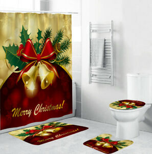 Merry Christmas Bathroom Rug Set Shower Curtain Thick Bath Mat Toilet Lid Cover