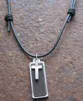 Kreuz Herren Leder Kette schwarz braun Lederkette Surfer Halskette Kreuzkette