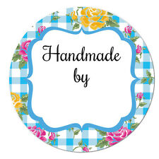 'HANDMADE by' stickers - 60mm, floral gingham designs, 4 colours available