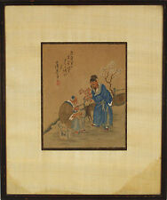 Antique Chinese Gouache Painting on Silk Calligraphy Signed Marked