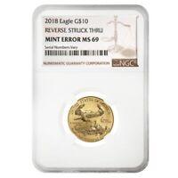 2018 1/4 oz $10 Gold American Eagle NGC MS 69 Mint Error (Rev Struck Thru)