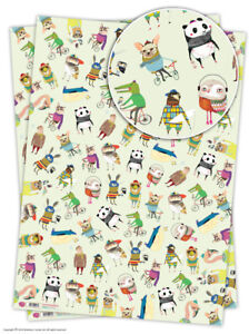 Brainbox Candy funny animals novelty wrapping paper 2 sheets owl bird panda dog