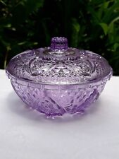 PURPLE VINTAGE BOWL GLASS CUT CRYSTAL FOOTED CANDY DISH WITH LID GLASSWARE NWT