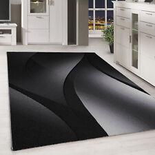 Kurzflor Design Teppich Schatten Muster Wohnzimmer-Teppich Grau Schwarz Meliert