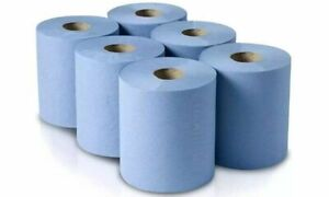 6/12/18/24 Pack 2Ply BLUE ROLLS EMBOSSED CENTRE-FEED PAPER WIPE TOWEL TISSUE