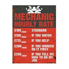 Mechanic Funny Hourly Rate, retro vintage style metal sign man cave shed Garage
