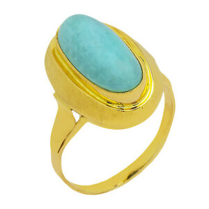 14k Yellow Gold Turquoise Vintage Ring Size 11.5