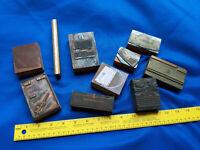 10 Antique Letterpress LOT Block Printer Advertising Cameo Leather VTG Wood