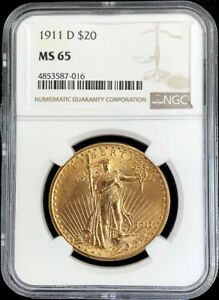 1911 D GOLD USA $20 ST GAUDENS DOUBLE EAGLE NGC MINT STATE 65