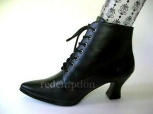 """*3"""" Kitten Heel Black Pointy Victorian Granny Steampunk Witch Goth Ankle Boots 6"""