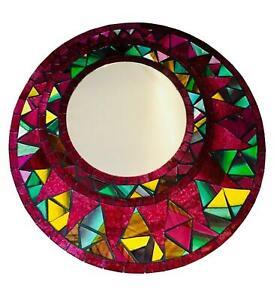 Sunlover Unique 30cm Mosaic Red Flame Round Mirror