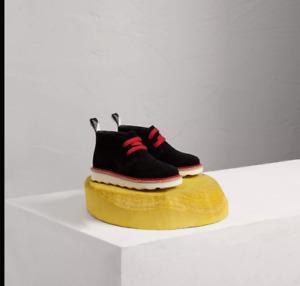 NIB NEW Burberry boys girls black suede desert boots 23 7 25 9 26 10 27 10.5