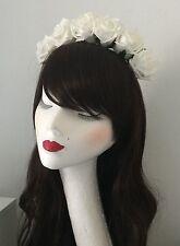 White Rose Flower Floral Crown Headband Garland Festival Boho Vintage