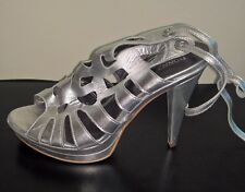 Donna Piu Silver High Heeled Open Toe Strappy  Shoes Size 10