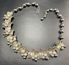 "Vintage High End Necklace Choker 16-17"" Crystal Rhinestones Silver Tone Lot1"