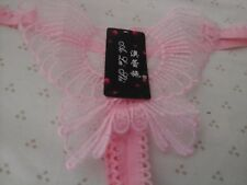 "1 x Baby Pink Butterfly LACE THONG 26-32"" 2/4/6/8 glamour g-string"