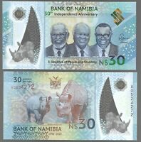 NAMIBIA 30 DOLLARS 30TH INDEPENDENCE 1990-2020 COMM. P-NEW POLYMER UNC NOTE