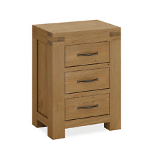 Chunky Oak Bedside Table 3 Drawer Side Lamp End Rustic Solid Wood Abbey Grande