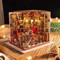 Rolife Wooden Miniature Doll House 1:24 DIY Book Shop Furniture LED Gift  Women