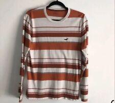 Hollister Striped Long Sleeve Shirt size small Orange White